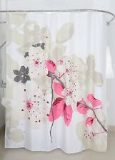 Shower Curtain Fabric Flowers Floral Peach Tree Bathroom Decor Bath White  Pink