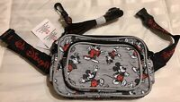 Disney Mickey Mouse Through The Years Grey Fanny Pack Shoulder Bag Authentic