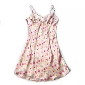 Women's 100% Silk Chemise Sexy Slip Nightwear Print Silk Sleepwear Gown S M Pink
