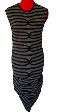 TED BAKER DRESS ABELA STRIPED BODYCON SLEEVELESS KNIT BLACK GRAY SIZE 3 - M **H