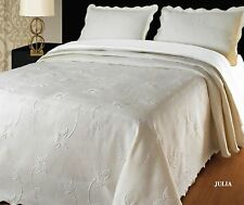 Large Cotton Blend Cream Bedspread Comforter Throw Fits King Size Bed 260x260 cm