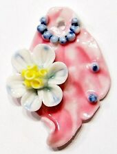 Hand Painted Beautiful Porcelain Victorian Leaf w/ Flower Pendant Multi-Colored