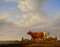 "perfact 36x24 oil painting handpainted on canvas ""men and cattle""N4812"