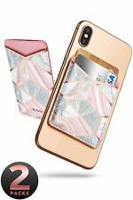 2-Pack Phone Card Holder Adhesive Stick-on Card Wallet Sticker Case Pouch Pocket