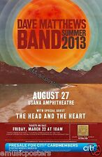 "DAVE MATTHEWS BAND /THE HEAD & HEART ""SUMMER TOUR 2013"" SALT LAKE CONCERT POSTER"