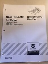 "New Holland Operator'S Manual for 44"" Mower Garden Tractors"