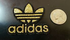 "Gold Sparkle ADIDAS PATCH  Logo PATCH embroidered iron on patch 2"" x 2"" Nice A1"