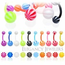 Navel Belly Ring (Multiple Colors) 14Ga BioFlex Flexible Candy Colored Striped