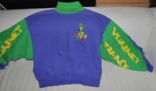 VUARNET FRANCE vintage SweatShirt 1980s Surf, Ski Logo Green & Purple Medium