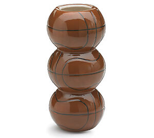 """Stacked Round Basketball Shape Brown Black Stripes 7.5"""" Tall Sports Vase Decor"""