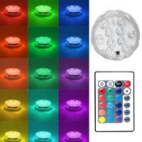 Swimming Pool Remote Control RGB LED Light MultiColor Underwater Vase Decor