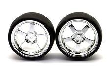 HRC Reifen 1/10 Drift 5 Speichen Chrome Felgen 3mm Slick 2 Stück - HRC61071CH
