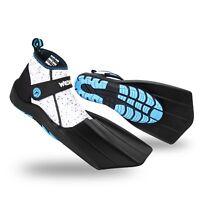 Wildhorn Topside Women's 5 Youth 3 Hydro Snorkel Fins Swim Flippers, Pearl Aqua