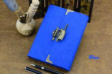 Royal Blue Journal with Vintage Key and Lock Personal Diary Organizer for Women