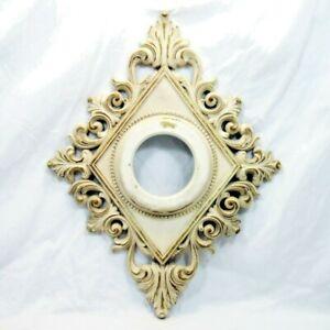 Vtg MCM SYROCO WOOD Diamond Shape Frame Distressed Cream w/ Gold Color 20 x 16