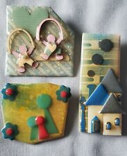 VINTAGE Pins By LUCINDA House People & Little People Artisan Brooch Pin Lot of 3
