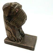 Vintage Hand Carved Wooden Dog Single Bookend Schnauzer Scottie Terrier