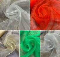 """Solid Colour Organza Fabric 58"""" Sheer Voile Curtain Wedding Craft"""