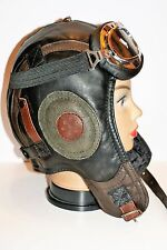 WWII Handmade Genuine Leather Pilot,Aviator,Motorcycle Helmet Hat Cap XXL size