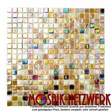 Mosaikfliese beige braun perlmutt irisiernd Glasmosaik Orient Art:58-1204|1qm