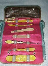 VINTAGE IN LEATHER CASE, COMPLETE FINGERNAILSET, OLD CELLULOID, CASE LEATHER