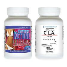 2 RASPBERRY KETONE MEGA EXTREME #1 SELLER Fat Weight Loss 1200 mg + CLA TONALIN