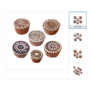 Asian Traditional Wooden Print Stamps DIY Textile and Paper Printing Blocks