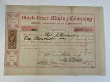 1864 BLACK RIVER MINING CO. Stock Certificate GOGEBIC RANGE, MICHIGAN RARE