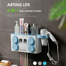 4 in 1 Automatic Toothpaste Dispenser Toothbrush 4 Cups Holder Wall Mount