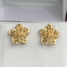 18k Solid Yellow Gold Stud Flower Earrings, Diamond Cut 2.44 Grams