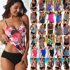 Womens Two Piece Push Up Padded Tankini Bikini Swimsuit Bathing Suit Swimwear LC