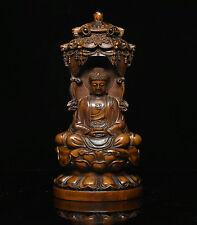 Chinese Buddhism Boxwood wood Carve Shakyamuni Kwan-yin Guan Yin 3 Buddha Statue