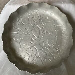 Vintage Federal Florette Design Round Aluminum Plate Dish Bowl With Ruffled Edge