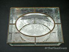 """Beveled Mirrored DOVES Glass & Brass Jewelry Trinket Box 8"""" x 6"""" x 2.5"""""""