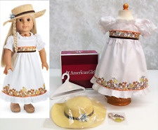American Girl Doll JULIE'S BIRTHDAY DRESS White Summer Fall Outfit Hat Necklace!