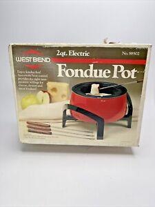 1980's Vintage WEST BEND #88502 2 QT.RED ELECTRIC FONDUE POT W/4 FORKS SEALED