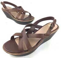 Camper Damas Brown Leather Open Toe Ankle Strap Wedge Criss Cross Women's Sz 11