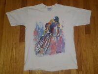 Vintage 90s Richard Wallich White Bike Abstract Art T-shirt Size Large USA MADE