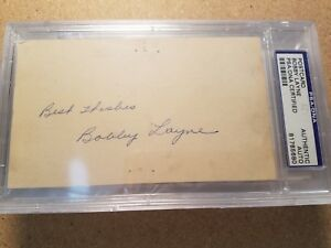 Bobby Layne (d.1986) PSA/DNA AUTOGRAPHED 3x5 index card Steelers, Lions, Bears