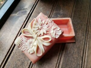 RARE Vintage Pink Floral Soap Stone Dish Container Beautiful With Lid