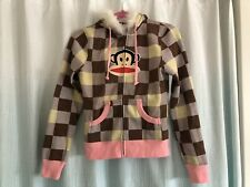 Paul Frank Women's Juniors Pink & Brown Checkered Faux Fur Zip Up Hoodie XS Rare