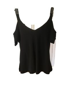 Excellent Ladies Lipsy Black cold shoulder top- size 12