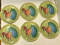 POTTERY BARN KIDS Thanksgiving Melamine Plates- Set of 6 Turkeys