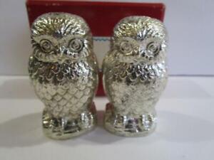 Vintage Disneyland Leonard Silver Plated Halloween Owl Salt Pepper Shaker Set