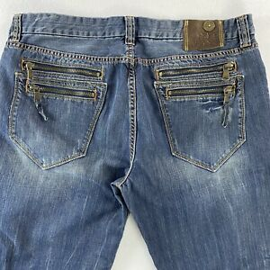 Pepe Jeans London Men's 40x28 Y2k Baggy relaxed Fit  blue Jeans with Zip pockets