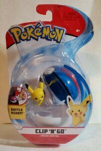 Pokemon Clip N Go Pikachu + Great Ball Figure Battle Ready! Brand New Sealed