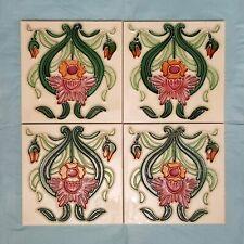 Vintage / Retro Art Nouveau Style Tubelined  Fireplace / Wall Tiles