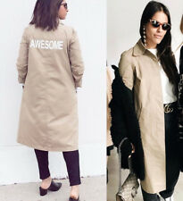 ZARA NEW BEIGE AWESOME TEXT PRINT TRENCH COAT COAT SIZE S UK 8