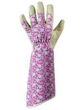 Womens/Ladies Falling Flower Gauntlet Gardening Gloves Floral Print Medium