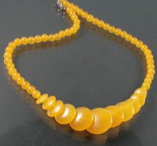 Yellow Jade Tower Round Beads 18KWGP Clasp Pendant Necklace